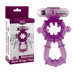 Anel Peniano Duplo com Saliências e Alça Escrotal BeefCake Dual Rings Vibe - VipMix