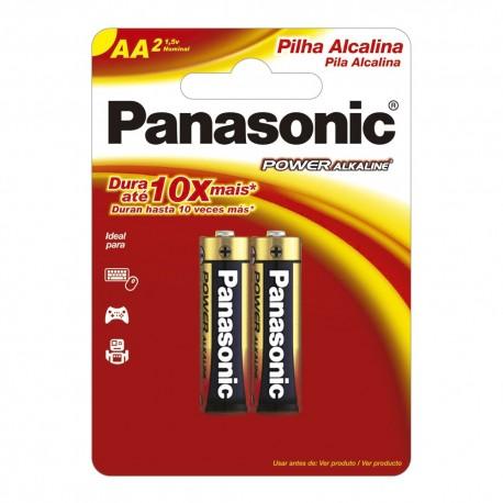 Pilha Panasonic alcalina AA (pequena) 1,5V Cartela c/ 2 und. - Panasonic