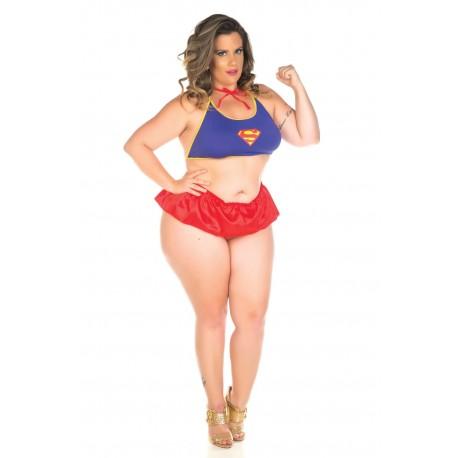Kit Mini Fantasia Super Girl Plus Size - Pimenta Sexy