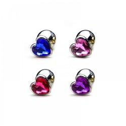 Plug Anal em Alumínio, Base em Formato Coração com Pedra Color Tam G- VipMix
