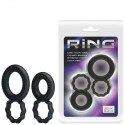 Kit com 2 anéis penianos duplos em silicone Ring Baile - Importado
