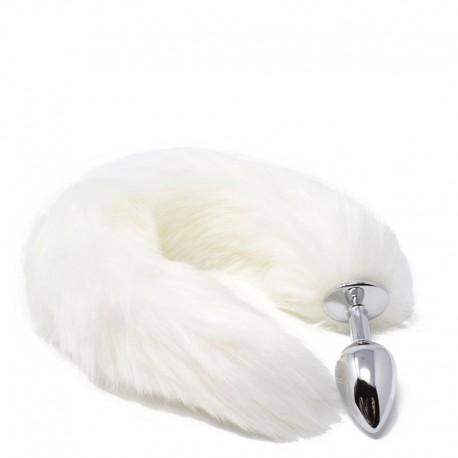 Plug Anal em Metal 7cm com Cauda Branca - VipMix