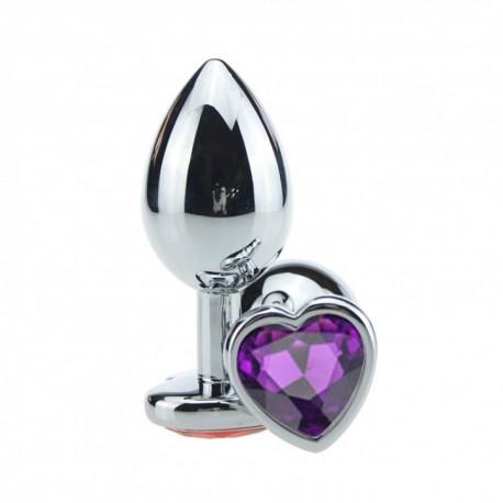 Plug Anal em Alumínio, Base em Formato de Coração com Pedra Colorida - VipMix
